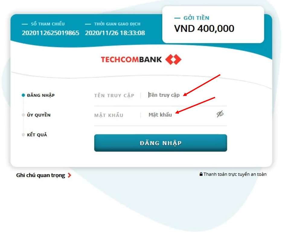 Login to your Internet Banking account